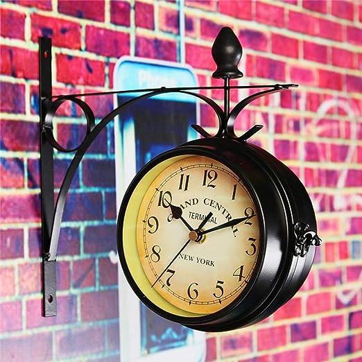 shenyan Reloj de estación de Montaje de Pared Redondo de Doble Cara,jardín Vintage Retro decoración del hogar Marco de Metal Cubierta de Esfera de Cristal: Amazon.es: Hogar