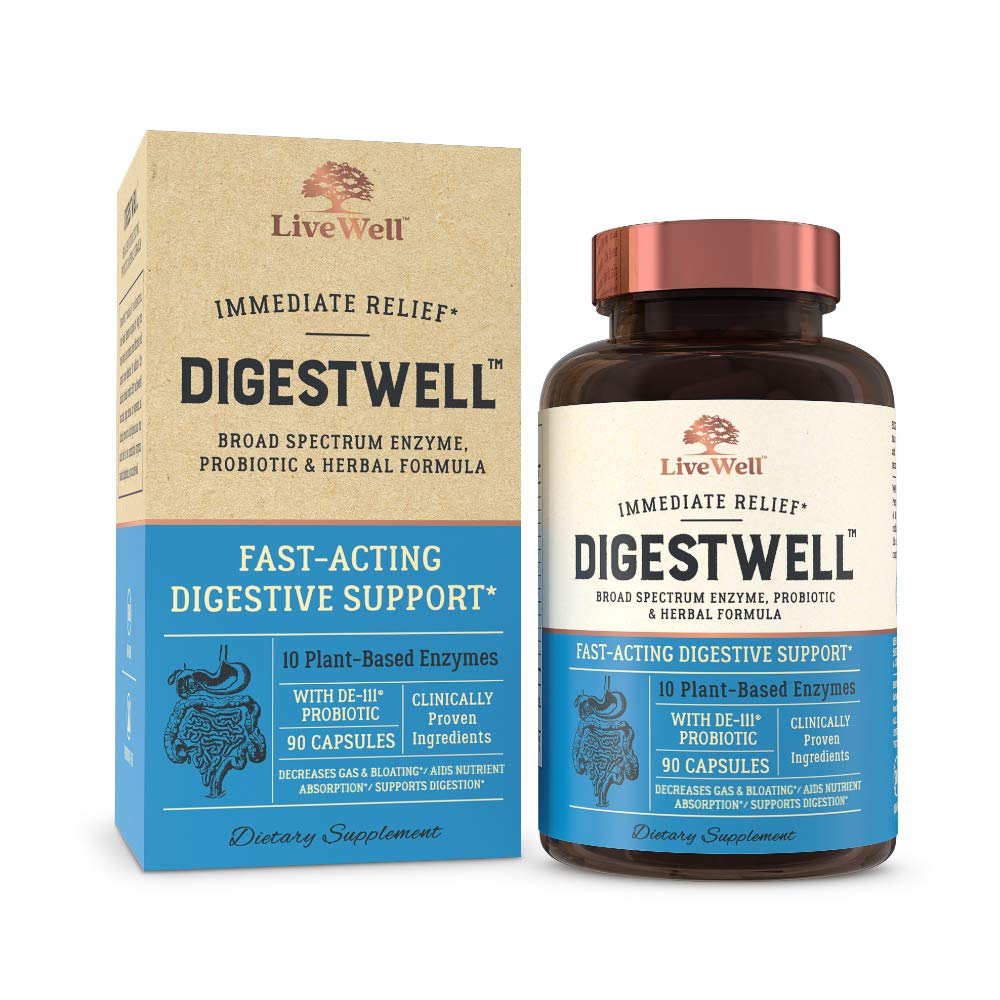 DigestWell Immediate Relief - Fast-Acting Digestive Support | Broad Spectrum Enzyme, Probiotic & Herbal Formula - Decreases Gas & Bloating - 90 Capsules by LiveWell Labs Nutrition