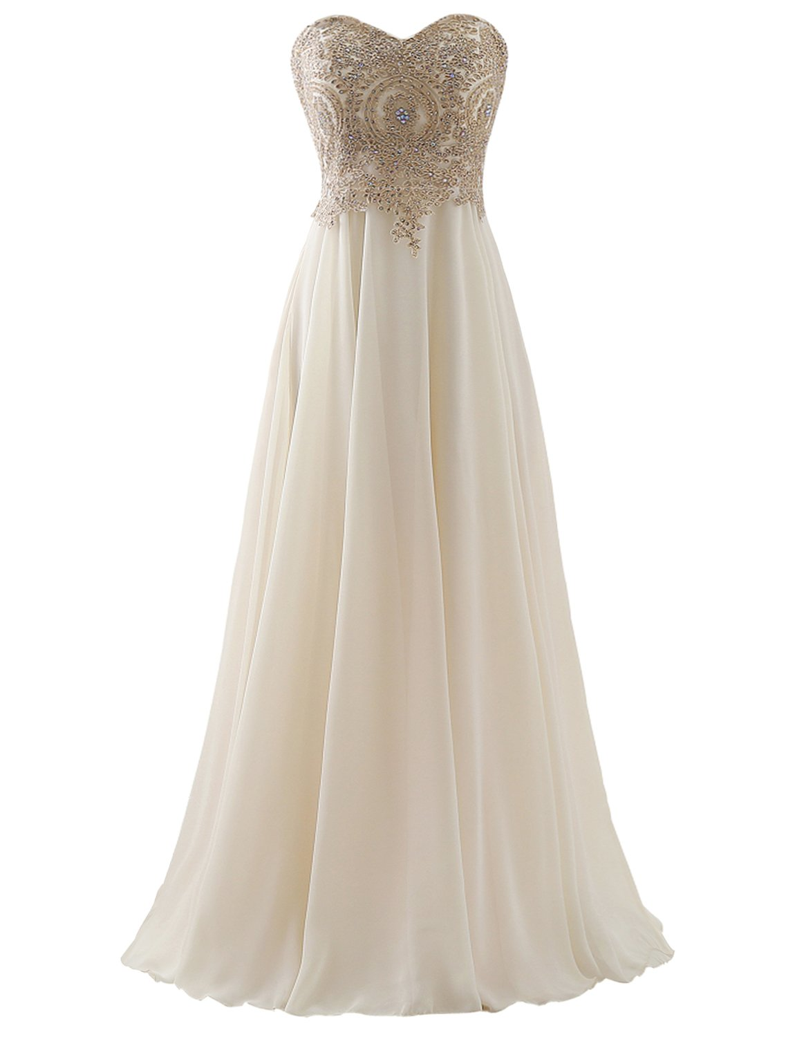 Erosebridal Sweetheart Long Prom Dress With Gold Embroidery Champagne US 14