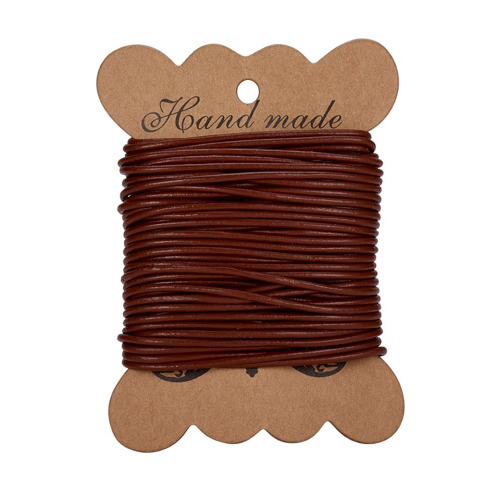 Roll Cordon de cuero de vaca, cuero Jewelry Cord, joyeria DIY making material, ronda, chocolate, 2mm