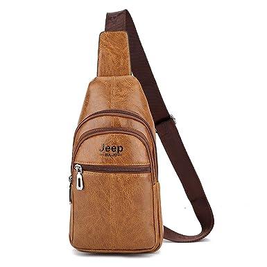Jeep Buluo Mens Leather Bag Shoulder Crossbody Bags Jeep Sling Bag Zipper  Pocket For Iphone Camel a0bfa475c60f2