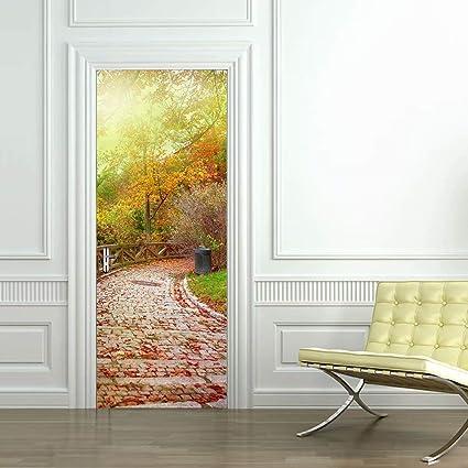 Door Murals Peel And Stick.Tifege 3d Door Murals Peel And Stick Wall Sticker Wallpaper Diy Home Art Decals Decoration Poster Removable Self Adhesive Stone Road 30 3x78 7 Dm055
