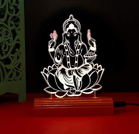 Buy Allan The Lord Ganesh 3d Illusion Acrylic Table Lamp
