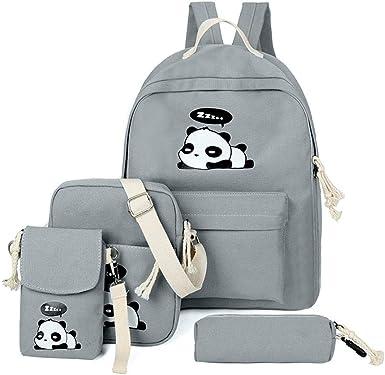 Demiawaking Girls School Bags Set 4 Piece Cute Panda Canvas School Backpack + Shoulder Bag + Cross Body Purse + Pencil Case for Teenagers (Grey)