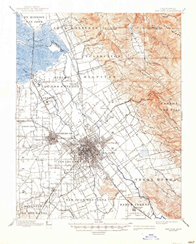 San Jose CA topo map, 1:62500 scale, 15 X 15 Minute, Historical, 1889, updated 1946, 20.7 x 16.6 IN - - State Plaza Map Garden
