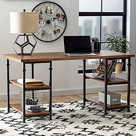 Amazoncom Writing Desk With Industrial Inspired Zona Bookcase In