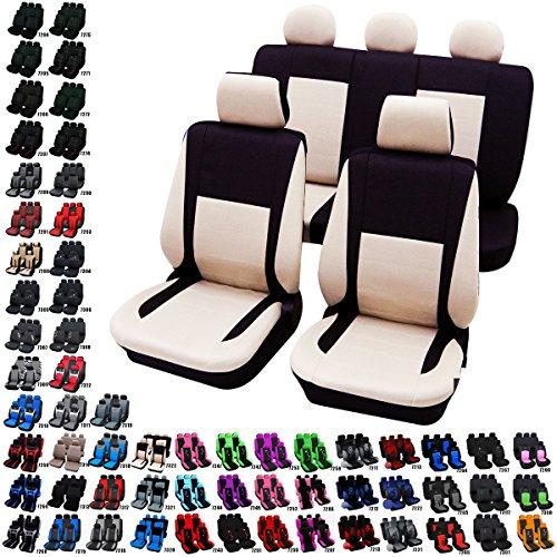 Woltu AS7322-a Auto Sitzbezug Sitzbezüge Schonbezüge Universal komplettset Schwarz/Creme