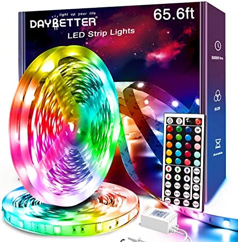 Daybetter Led Strip Lights, 65.6ft 360Leds RGB Led Light Strips Kits with Remote, Color Changing Led Lights for Bedroom Room Tv Kitchen Desk Party