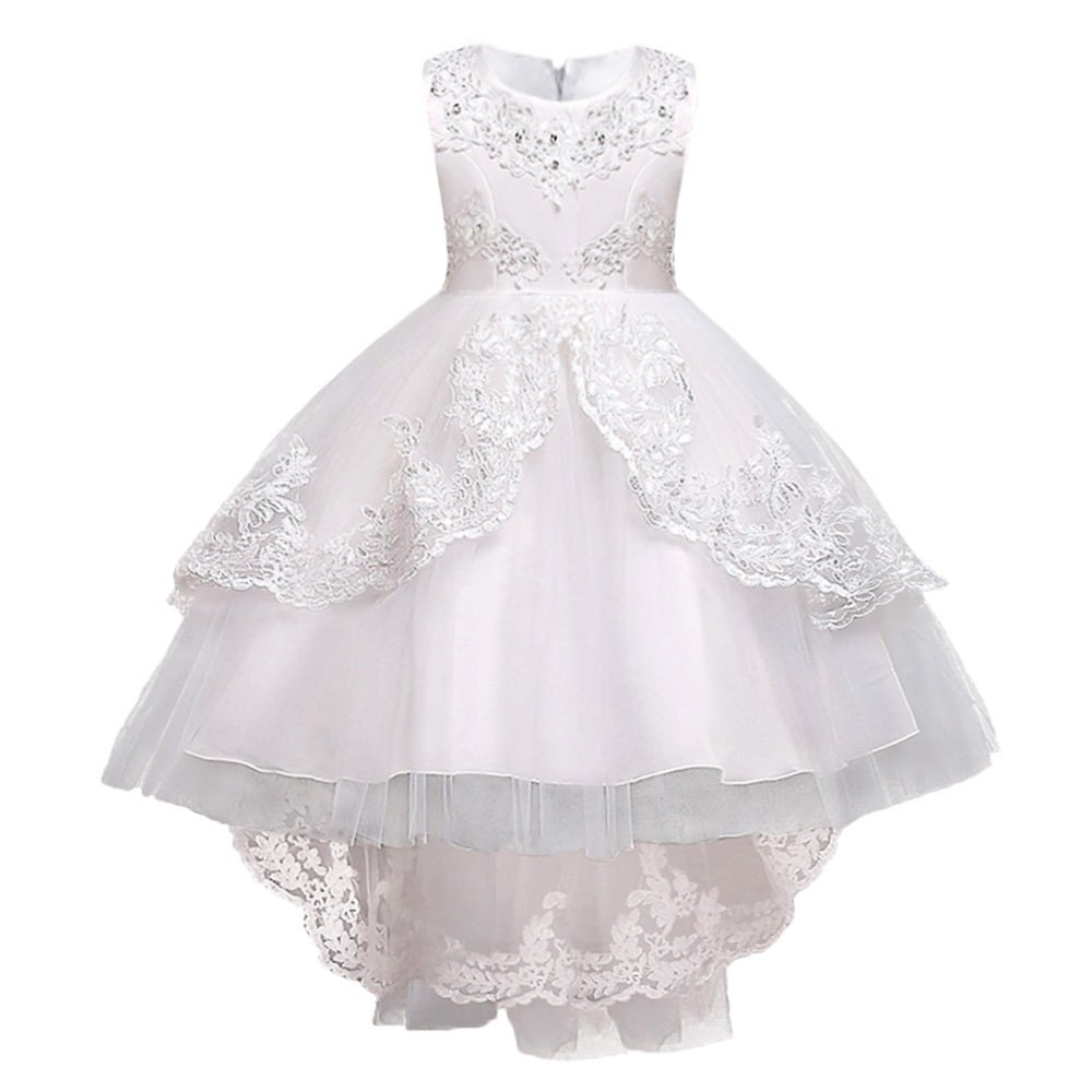 HUANQIUE Girls Pageant Party Dresses High Low Wedding Flower Girl Gowns White 8-9 Years
