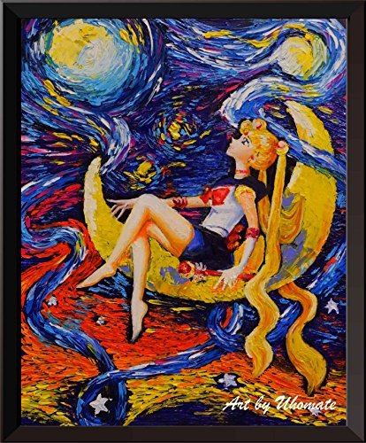 Uhomate Pretty Soldier Sailor Moon Wall Decor Vincent Van Gogh Starry Night Posters Home Canvas Wall Art Anniversary Gifts Baby Gift Nursery Decor Living Room Wall Decor A052 (8X10)