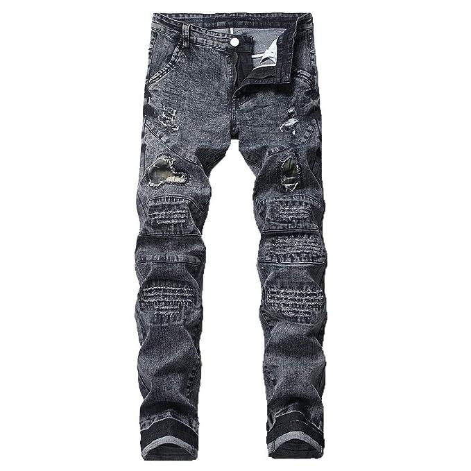 871cbaecd531 Jeans SOMESUN Uomo Pantaloni in Denim Elasticizzato Distressed Ripped  Frayed Slim Fit Pantaloni di Jeans Stampati ...