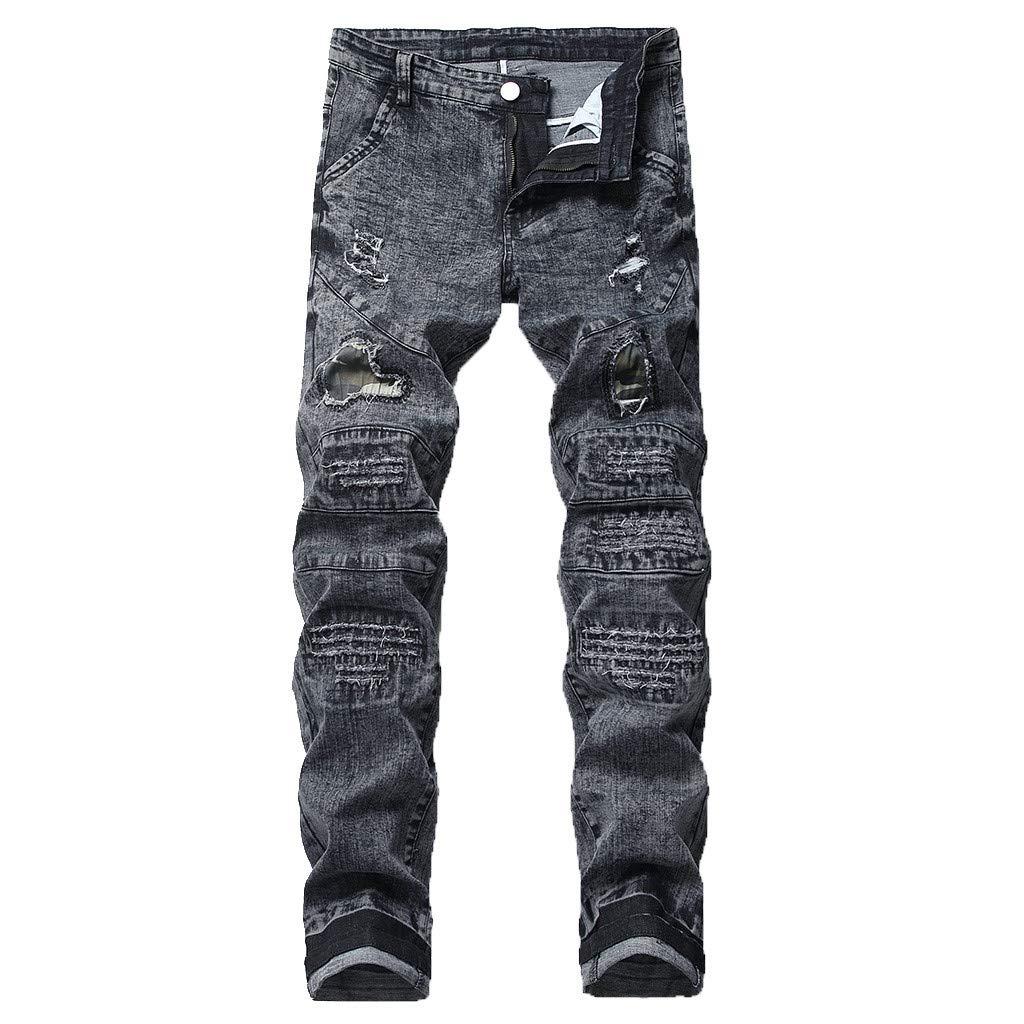 HTHJSCO Men's Ripped Slim Straight Fit Moto Biker Jeans Zipper Gray