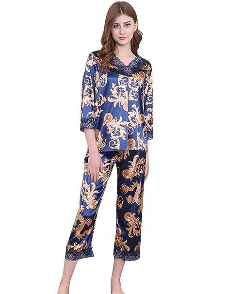 Menschwear Mujer Rayón Pijamas de la Serie Manga Larga Pantalones Pijamas de Ocio (Azul)