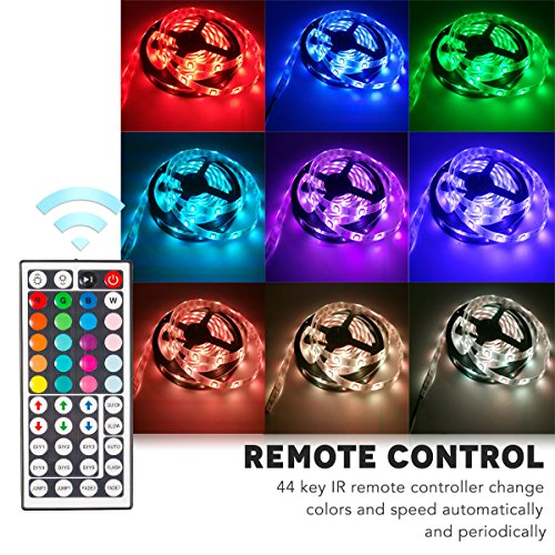 Jestar 5M 16.5ft LED Light Strip SMD 5050 RGB Waterproof with 44-Keys IR Remote Power Supply Flexible Color Changing LED…