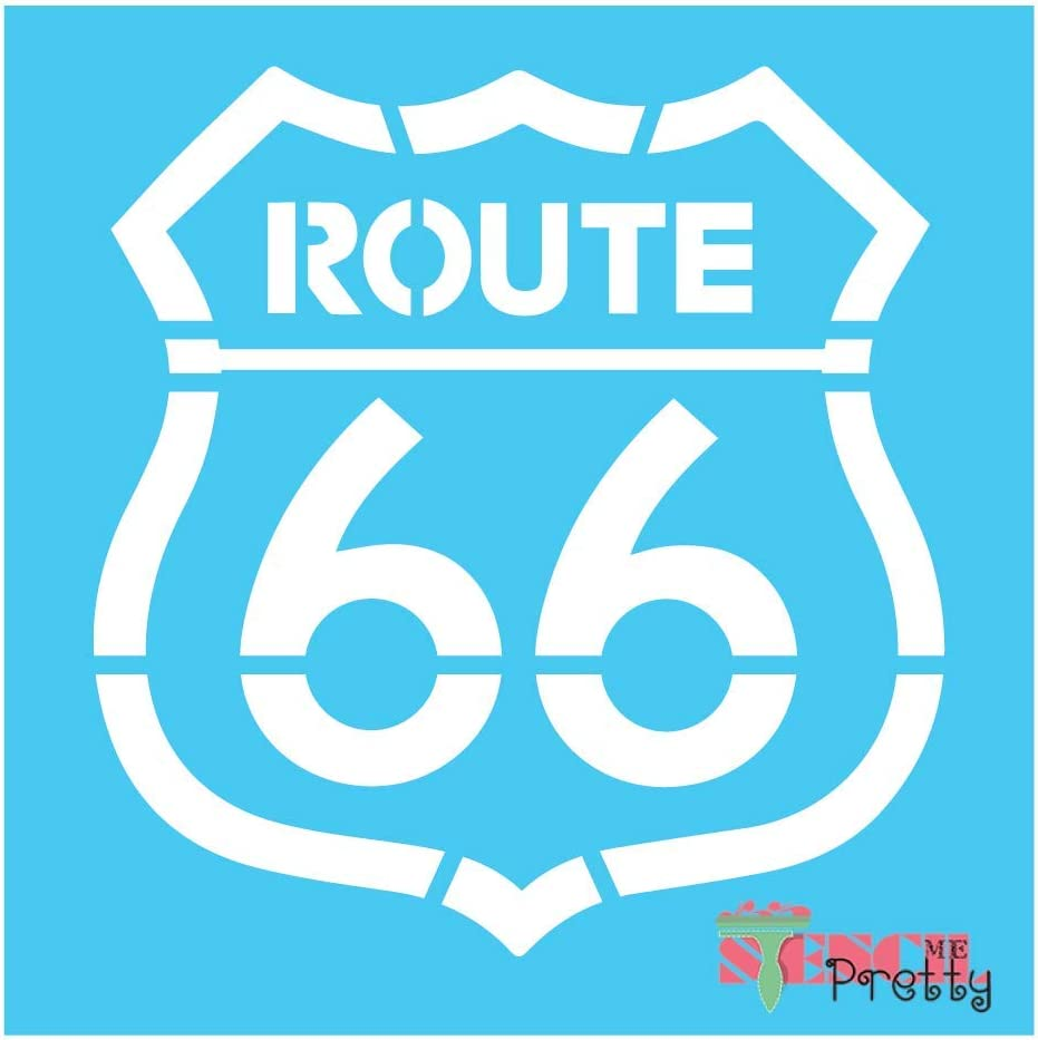 "Route 66 Highway Sign Stencil - for DIY Vintage Look Best Vinyl Large Stencils for Painting on Wood, Canvas, Wall, etc.-M (16.5"" x 17"")