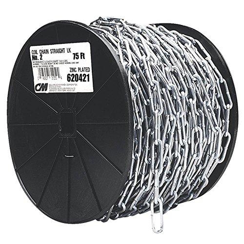 [해외]캠벨 0724527 저탄소 강 스트레이트 링크 코일 체인, 릴, 아연 도금, 3 0 거래, 0.21 직경, 100 '길이, 605 파운드 부하 용량/Campbell 0724527 Low Carbon Steel Straight Link Coil Chain on Reel, Zinc Plated, 3 0 Trade, 0.21  Diameter, 1...