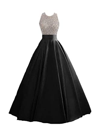 dbb515bfa49a HEIMO Women's Sequins Keyhole Back Evening Ball Gown Beaded Prom Formal  Dresses Long H095 0 Black