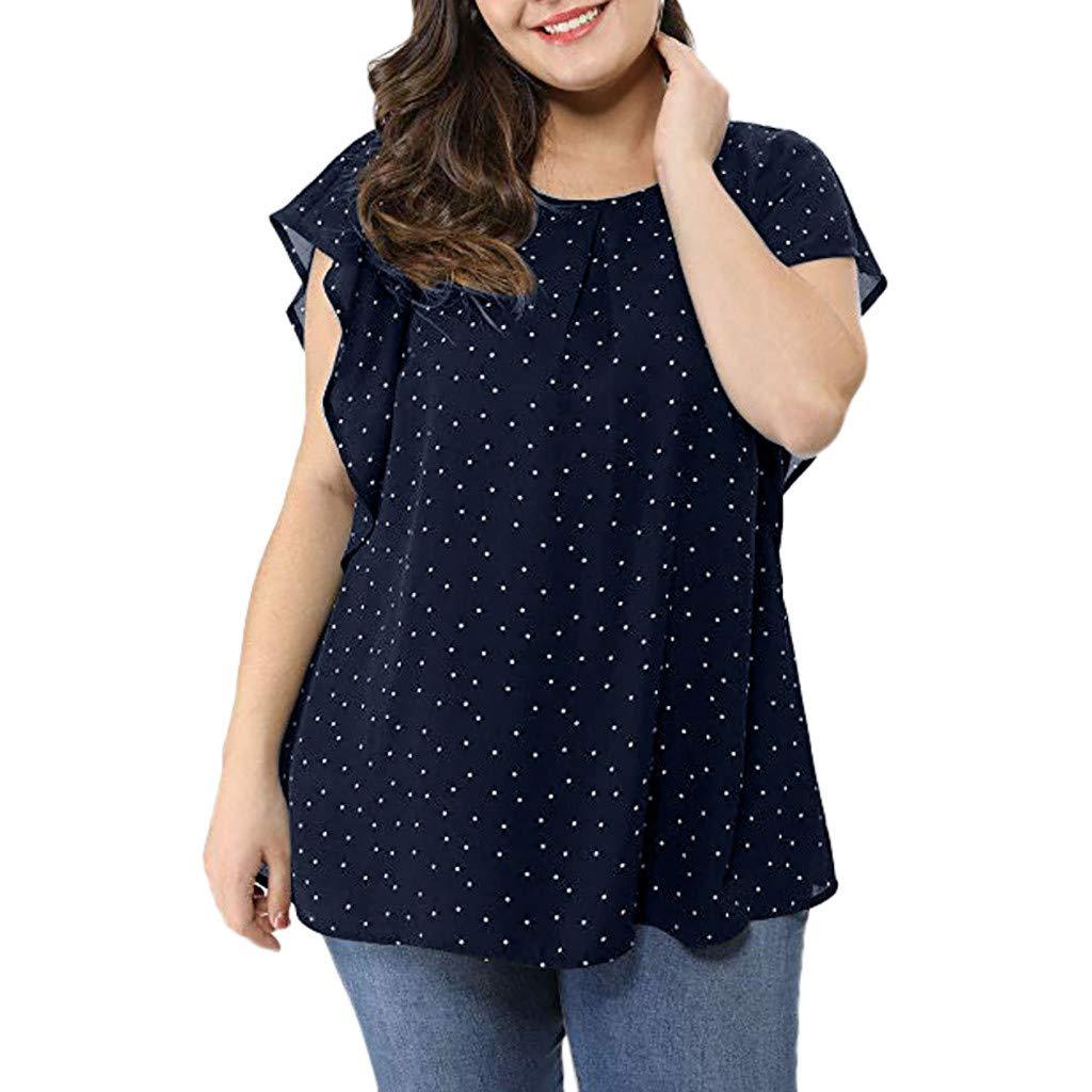 Camisetas Mujer Tallas Grandes De Fiesta Originales Blusa Mujer Blusas Para Mujer Elegantes Verano Womens Summer Plus Talla Fruncido Camisa De Manga Superior Polka Dot Chiffon Blusa Blusas Y Camisas
