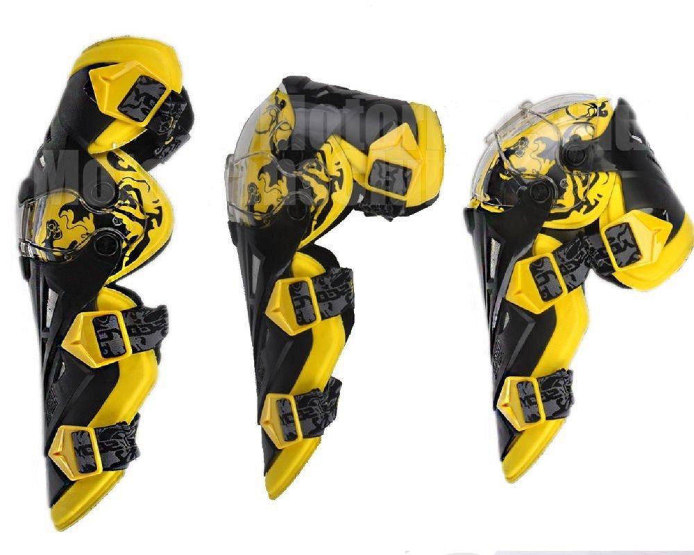 per ATV motocross sport di velocit/à Yellow Protezioni di sicurezza nero verde giallo bianco Pro CRAZY AL/'S/® CAK12/ di alta qualit/à per motociclisti ginocchiere e parastinchi CA-SCOYCO-K12
