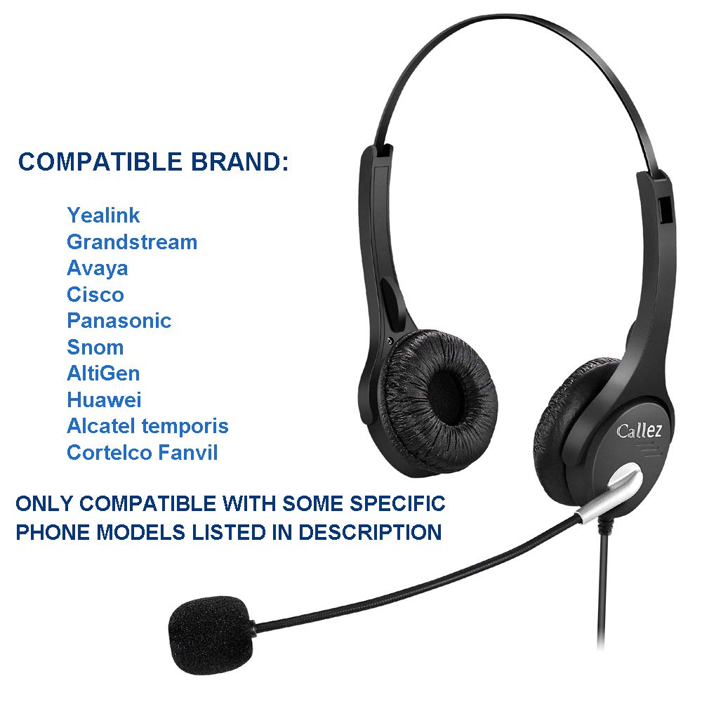 Callez Auriculares Tel/éfono Fijo RJ9 Binaural C402Y1 Micr/ófono con Cancelaci/ón de Ruido y Control de Volumen para Avaya 1608 9608 Yealink T19P T20P Snom Grandstream Panasonic KXT Cisco Tel/éfonos IP