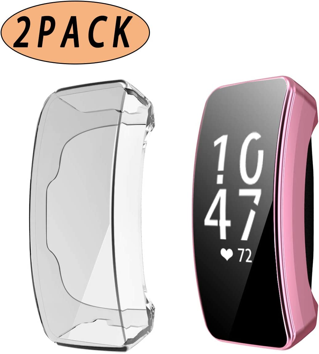 2 Pack All Around TPU Full Coverage Protective Cover Shell for Fitbit Inspire//Inspire HR Smartwatch iHYQ TPU Screen Protector Compatible Fitbit Inspire HR Case Clear+Pink