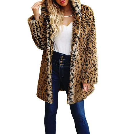 Saihui Women Coats   Jackets da Donna con Cappuccio in Pelliccia Sintetica  Caldo Cappotto Giacche Stampa Leopardo 760f651d670