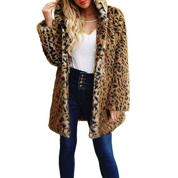 super populaire fc9b3 e14f6 OSYARD Cardigan Femme Long Chaud Hiver Léopard Hooded Ouvert Veste Manteau  Solide Faux Fourrure Grande Taille Casual Mode Coat
