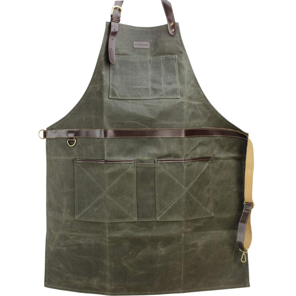 INNO STAGE Work Tools Apron,Waxed Canvas Bib Aprons with Pockets,Full Coverage Utility Apron,Hand Tool Organizers,Gardening Carpentry Lawn Care Accessories for Women and Men