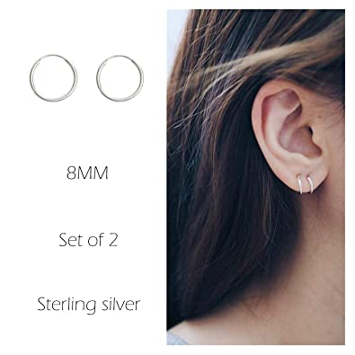 Amazoncom Sterling Silver Hoop Earrings Cartilage Piercing Earring