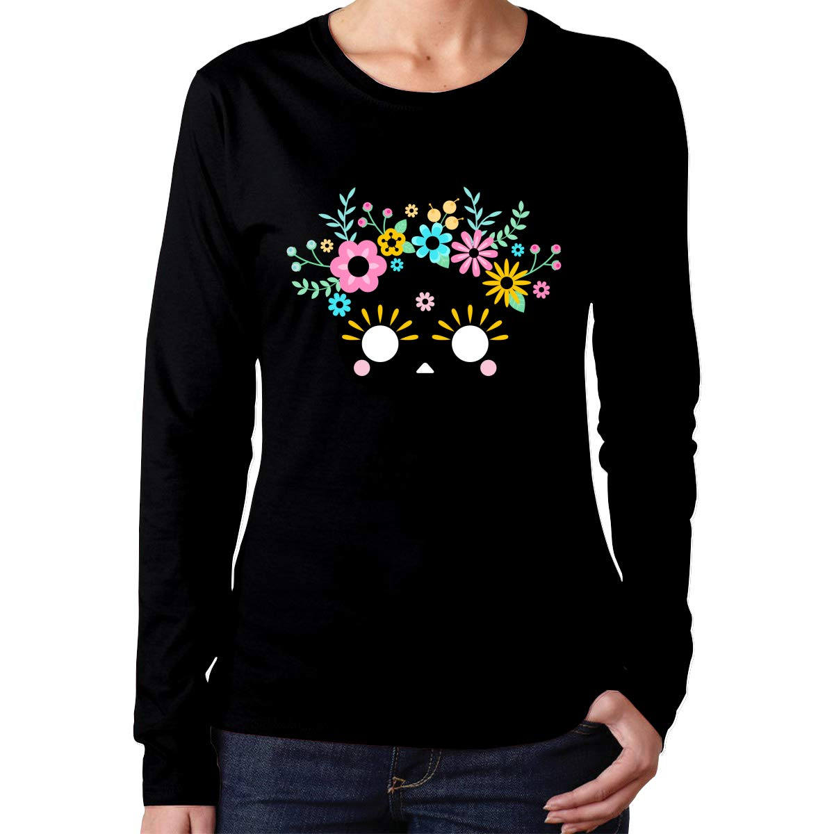 Teen Girls Printed Long Sleeves Black MiiyarHome Womens Long Sleeve T-Shirts Skull Head Tee