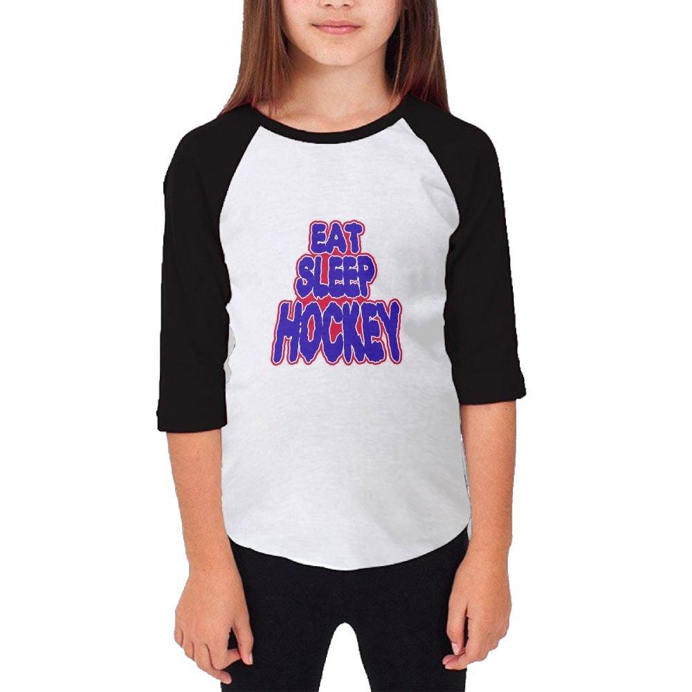 Jidfnjg Eat Sleep HOCKEY6 RD Kids 3//4 Sleeves Raglan T Shirts Child Youth Slim Fit Sports Uniforms