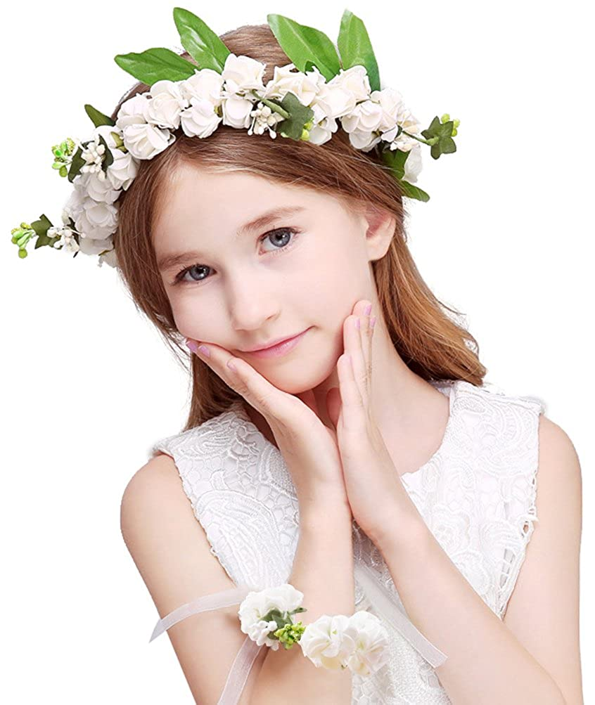 703bb8723729c Amazon.com: Bienvenu Girl Flower Crown With Floral Wrist Band For Wedding  Festivals, White: Clothing
