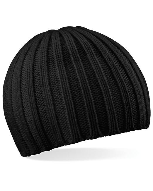 9cd5d617f0d BEECHFIELD CHUNKY KNIT BEANY BEANIE HAT - 3 COLOURS (BLACK)  Amazon.co.uk   Clothing