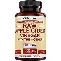 High Strength Raw Apple Cider Vinegar Capsules with Mother 1500mg ACV Diet Pills Detox Support - Acv Capsules Appetite Suppressant Keto Diet for Women Men Fat Burner Weight Loss Supplement