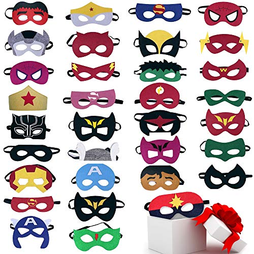 TEEHOME Superhero Masks Party Favors for Kid (33 Packs) Felt and Elastic - Superheroes Birthday Party Masks with 33 Different Types Perfect for Children -