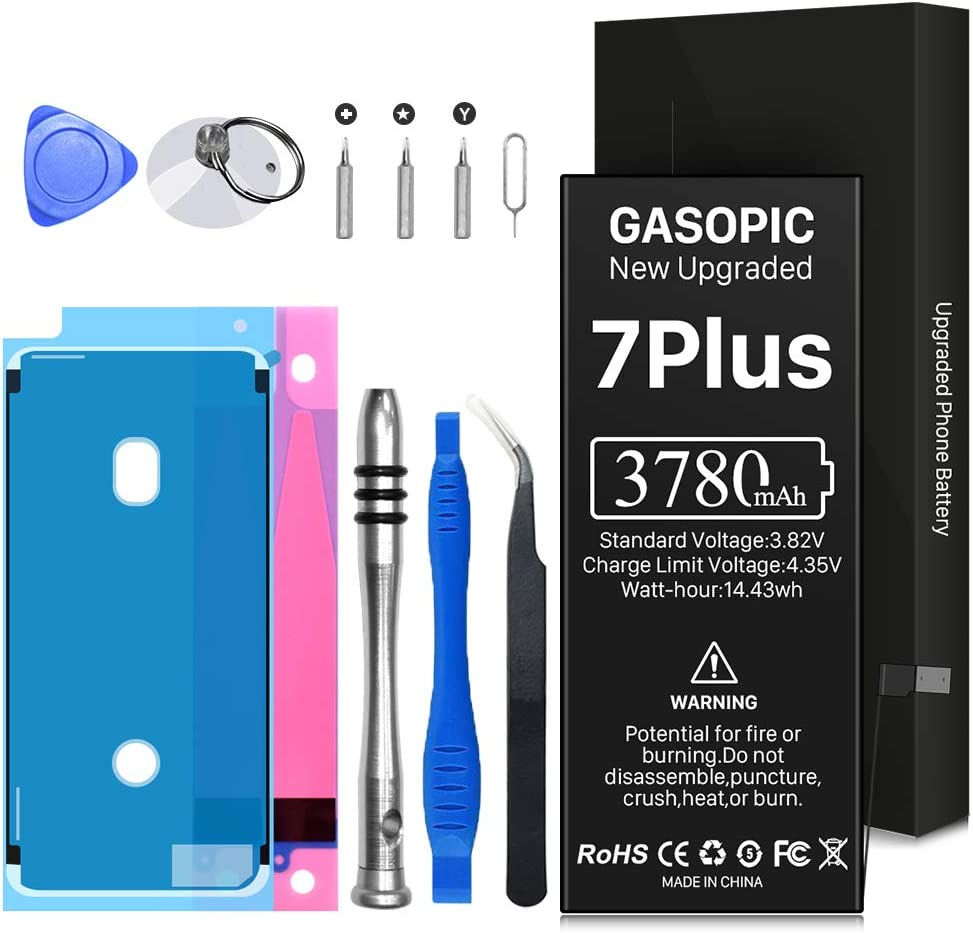 Battery for iPhone 7 Plus, 3780mAh High Capacity Li-Polymer Battery 0 Cycle - with Complete Repair Tool Kits and Adhesive Strips for A1661, A1784, A1785