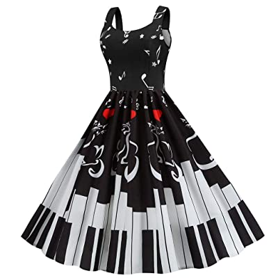 Sttech1 Womens Vintage Piano Heart Sleeveless Coat Neck Cocktail Swing Dress Evening Party Dress: Clothing