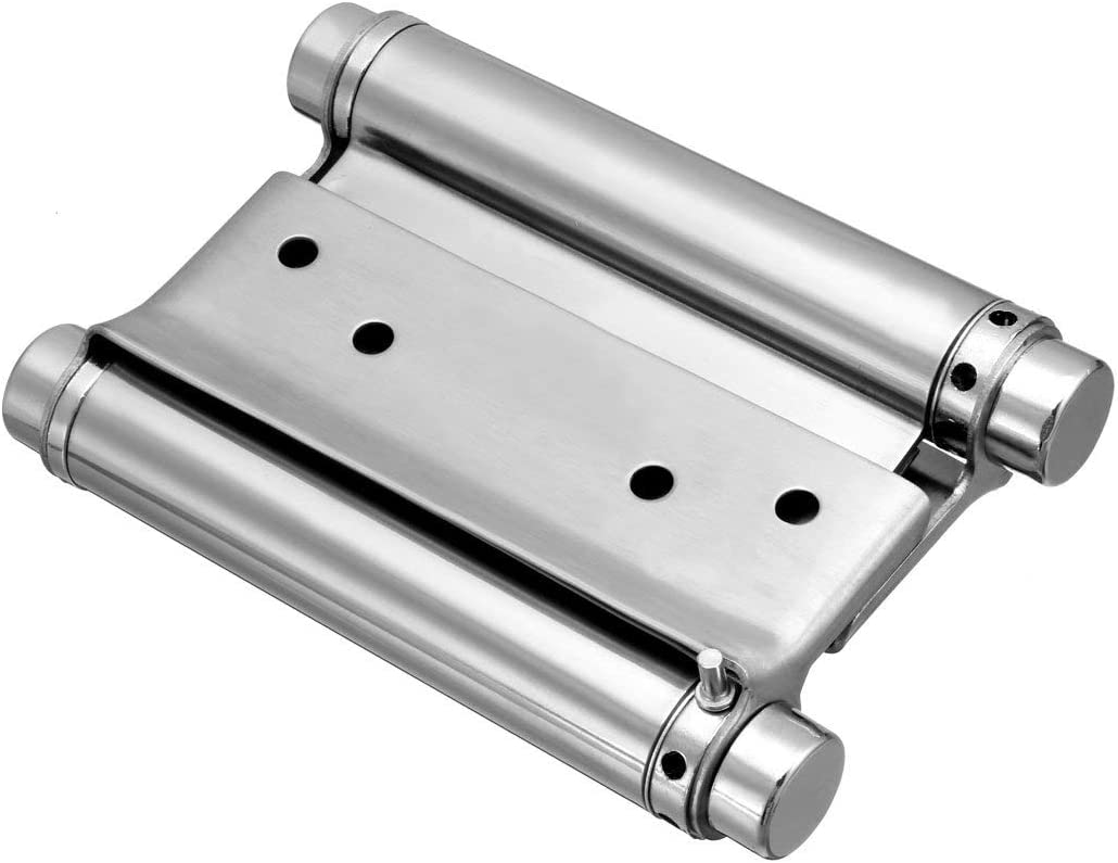 metal Genrics DIY Hardware Bisagra de resorte de doble acci/ón de acero inoxidable cepillado de 10,16 cm con ajuste de carga pesada 2 unidades 4 Inch 1Pcs