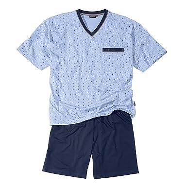 ab51ee3affe Götzburg XXL V-Neck Pyjama Short Light Blue Patterned  Amazon.co.uk   Clothing