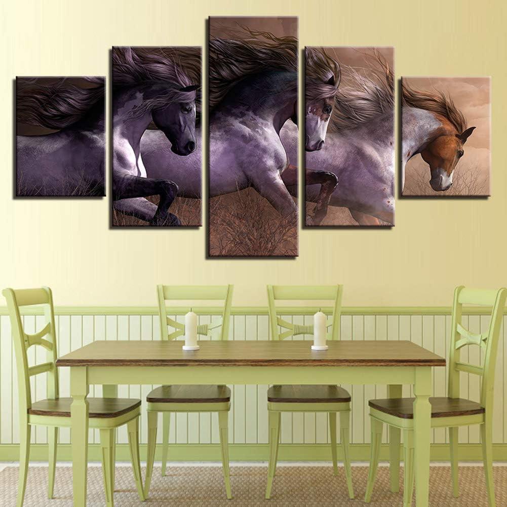 QJXX 5 Paneles Impresiones Cuadros en Lienzo Mural Escaparate de Fuerza y Belleza de un Guapo Caballo Pintura Animal Ilustraciones HD Moderno Casa Decoración,A,30cm*40x2+30x60x2+30x80x1
