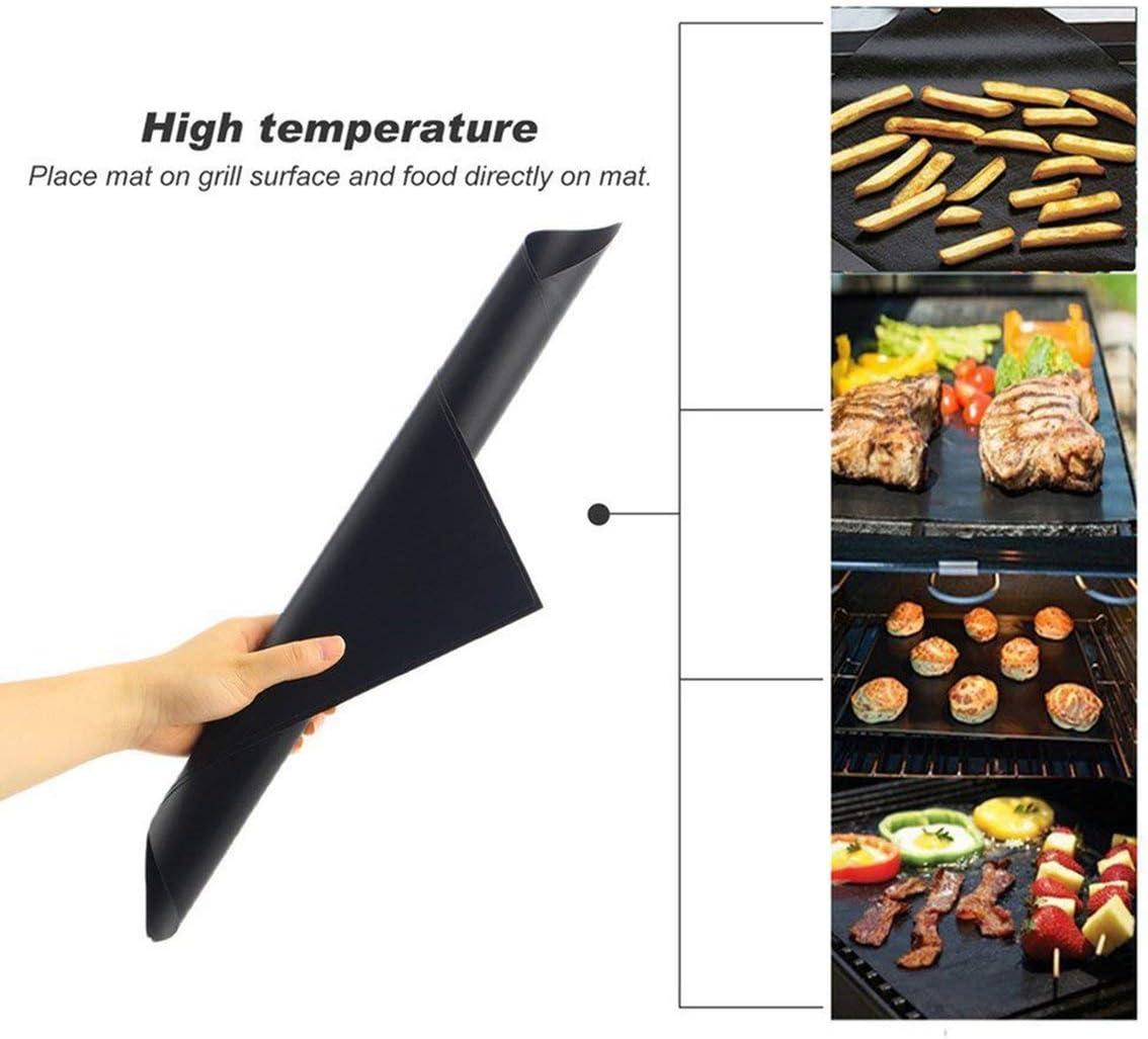 Monllafra 3 pcs / 5 pcs Réutilisable Anti-Adhésif Barbecue Grill Tapis Pad Feuille De Cuisson Mailles Portable Pique-Nique en Plein Air Cuisson Barbecue Outil (Taille: 3pcs)