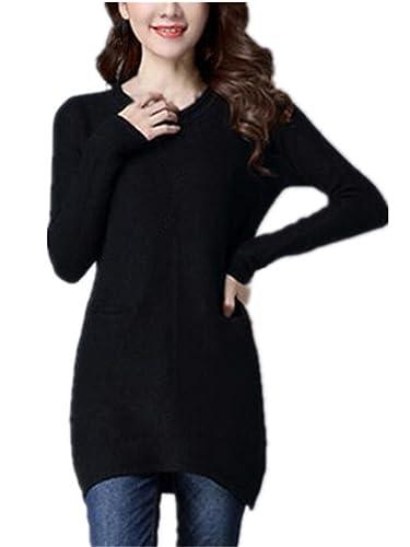 Kerlana Sueter Mujer Casual Manga Larga Blusas Knitted Largo T-Shirts Cuello Redondo Sudadera Bolsillo Tops Color SÓLido