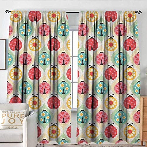 Living Room Curtains Kids,Ladybugs Cartoon Pattern with Retro Polka Dots Daisy Blossoms and Little Hearts Love, Multicolor,Darkening and Thermal Insulating Drapes 54