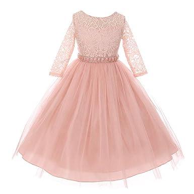 053ae2153 Big Girls Blush Floral Lace Rhinestone Waist Tulle Junior Bridesmaid Dress  8 Light Pink