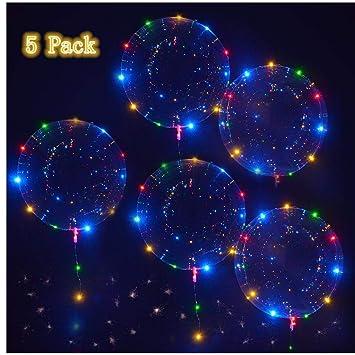 Slopow LED Bobo Globos Transparente 5 Piezas con LED Globos de Látex Decoración para Cumpleaños Fiesta