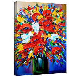 Art Wall Happy Floral Gallery Wrapped Canvas Art By Susi Franco, 32 By 24-inch