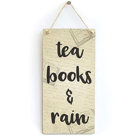 Mr.sign Tea Books and Rain Cartel de Pared Madera Placa ...