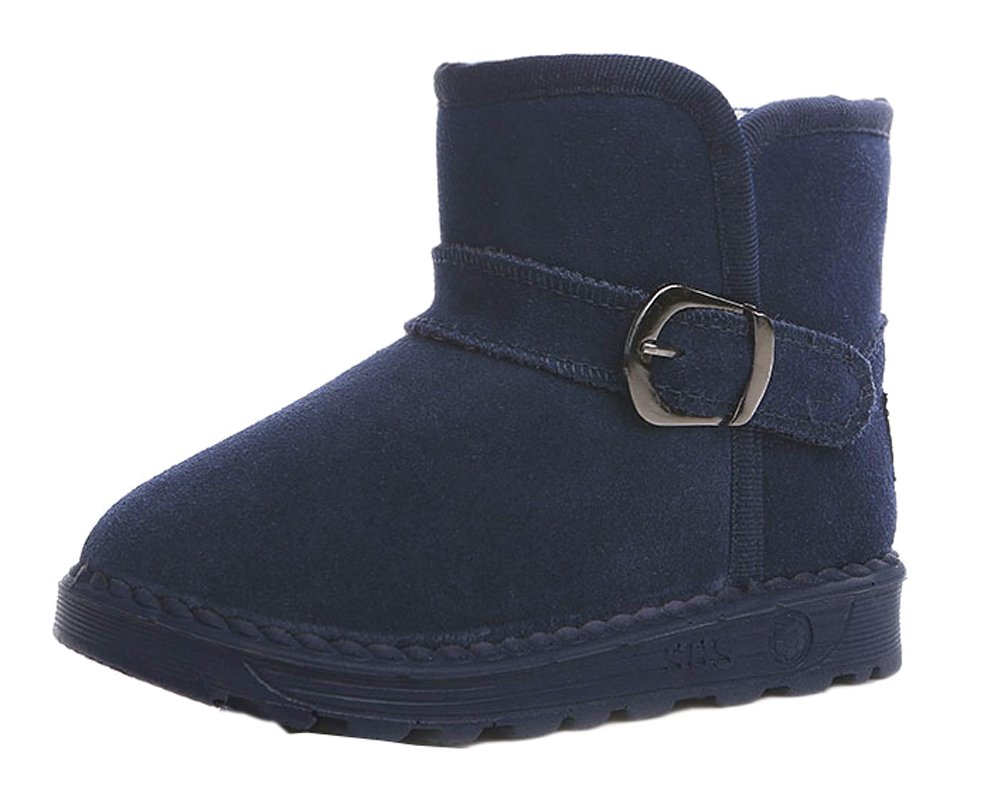 VECJUNIA Girls Boys Thick Suede Leather Snow Boots Outdoor Warm Short Plush Boot Blue 10 M US Toddler