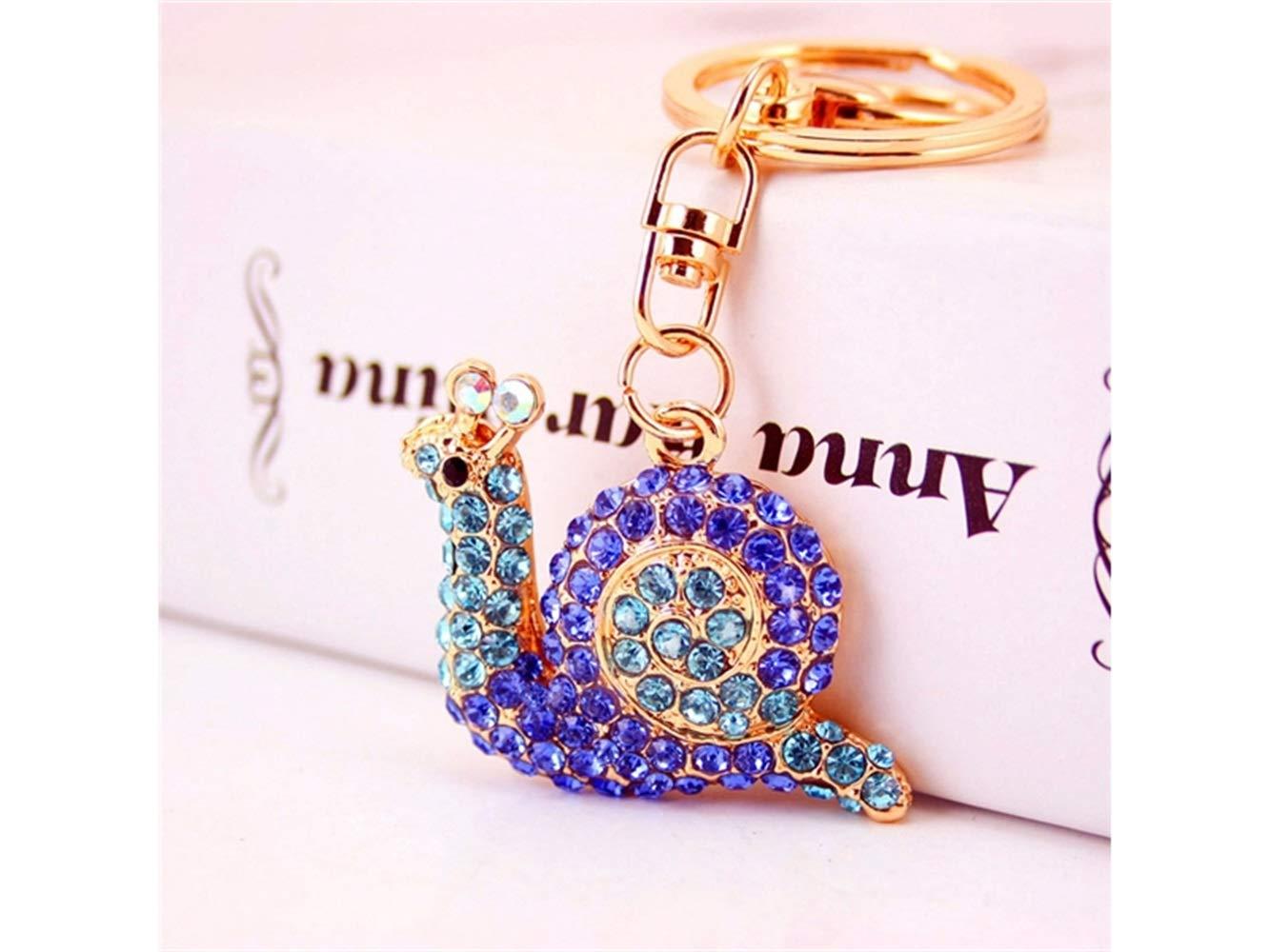 Car Keychain, Cute Small Snail Keychain Animal Key Trinket Car Bag Key Holder Decorations(Blue) for Gift