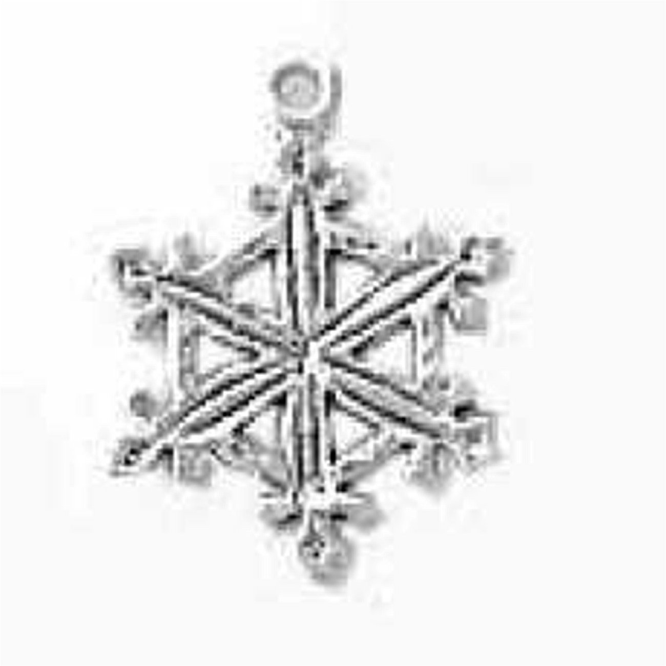 Sterling Silver Womens 1mm Box Chain Snowflake Hexagon Shape Center Pendant Necklace